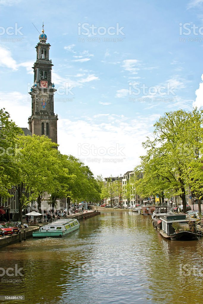 Amsterdam with the Westerkerk in Netherlands stock photo