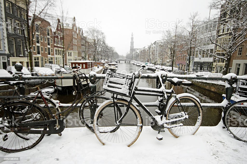 Amsterdam with the Westerkerk in winter Netherlands stock photo