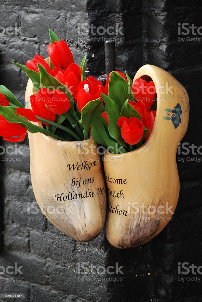 Amsterdam wooden shoes. stock photo