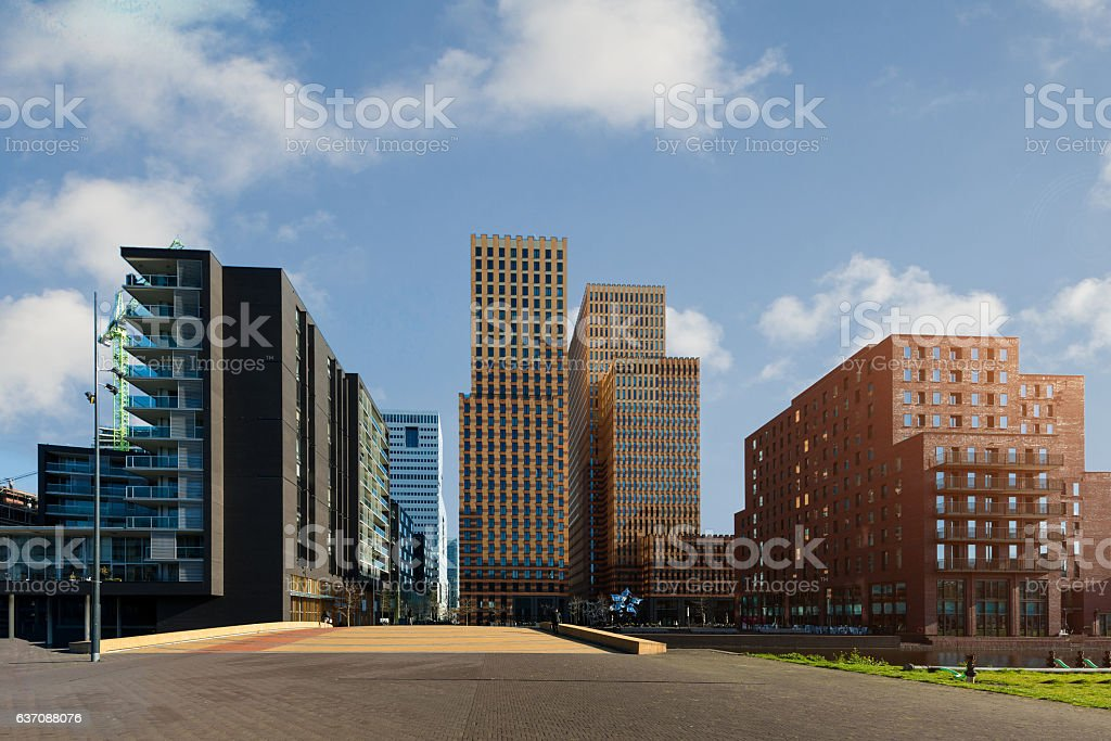 Amsterdam Zuid business district with office buildings at Netherlands. stock photo