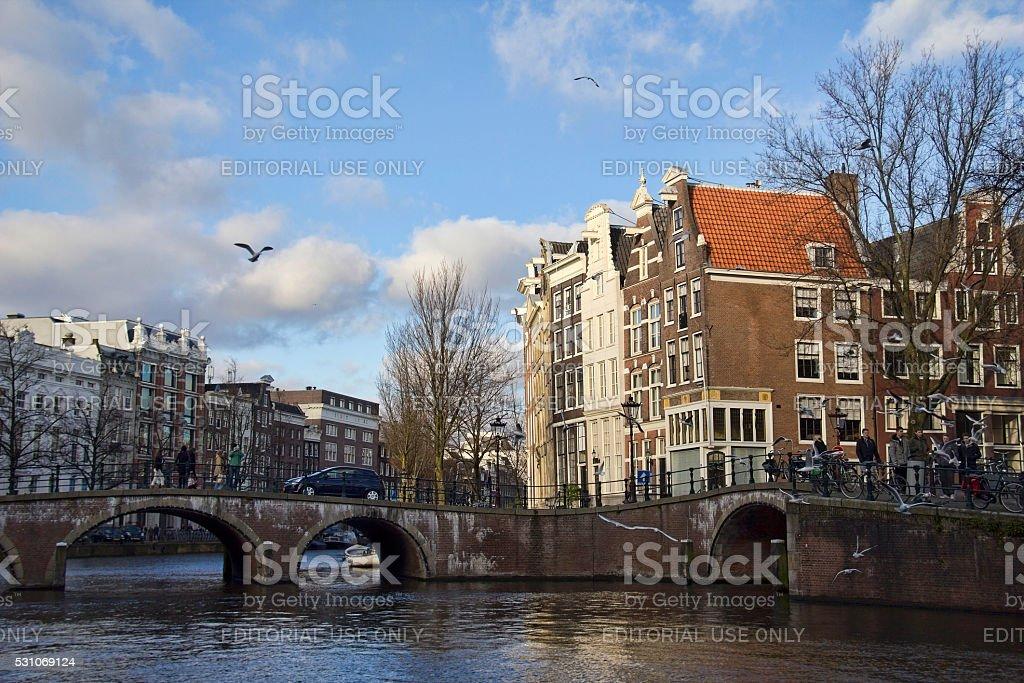 Amsterdan Canal, Holanda - foto de acervo