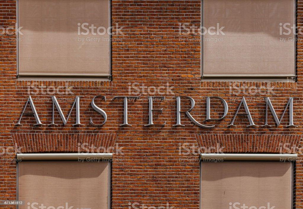 Sinal de texto de Amsterdan - foto de acervo