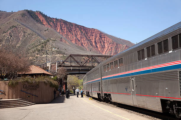 Amtrack train at Glenwood Springs Colorado Depot stock photo