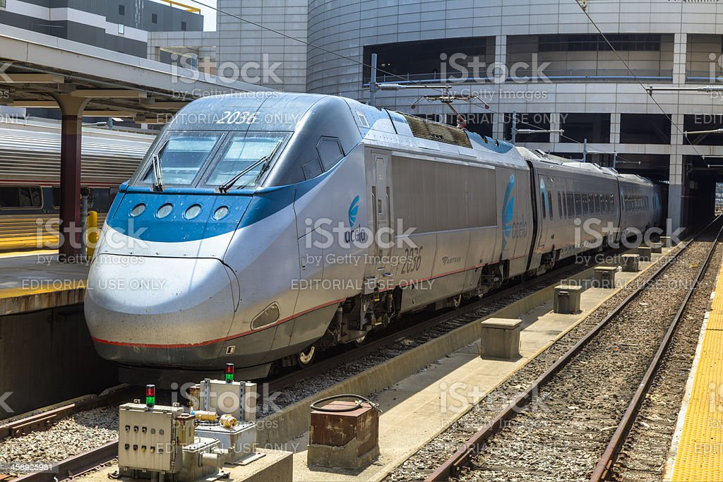 Amtrak Acela Express Train at Boston's South Station stock photo