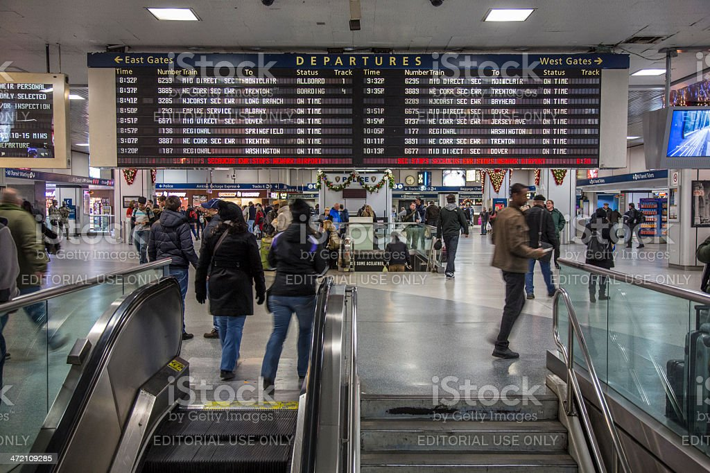 Amtrak departures board, Penn Station stock photo