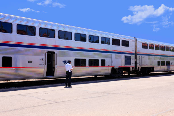 Amtrak train service at Tucson station AZ on its way to El Paso, San Antonio or Houston and on to New Orleans stock photo