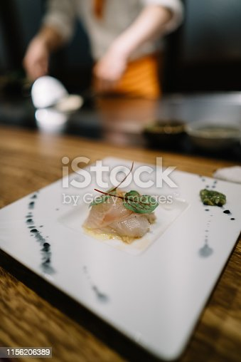 Dinner at a teppanyaki grilling restaurant in Sapporo Hokkaido Japan.