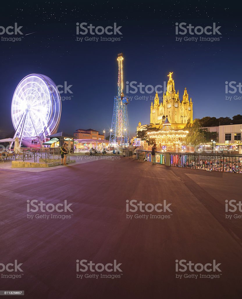 Amusement Park and Temple at Tibidabo stock photo