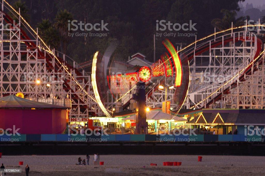 Amusement Park at Dusk stock photo
