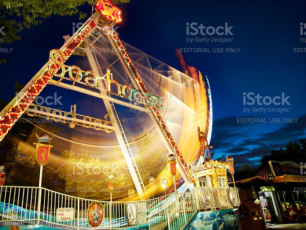amusement park at night royalty-free stock photo