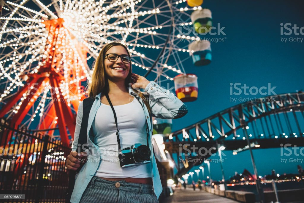 Amusement park at night stock photo