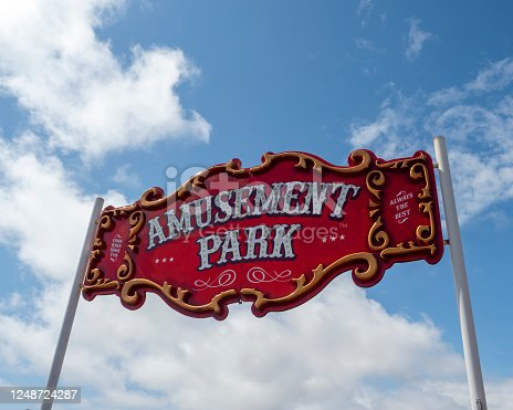 Sign over the entrance to an amusement park at the beach in Aberdeen, Scotland