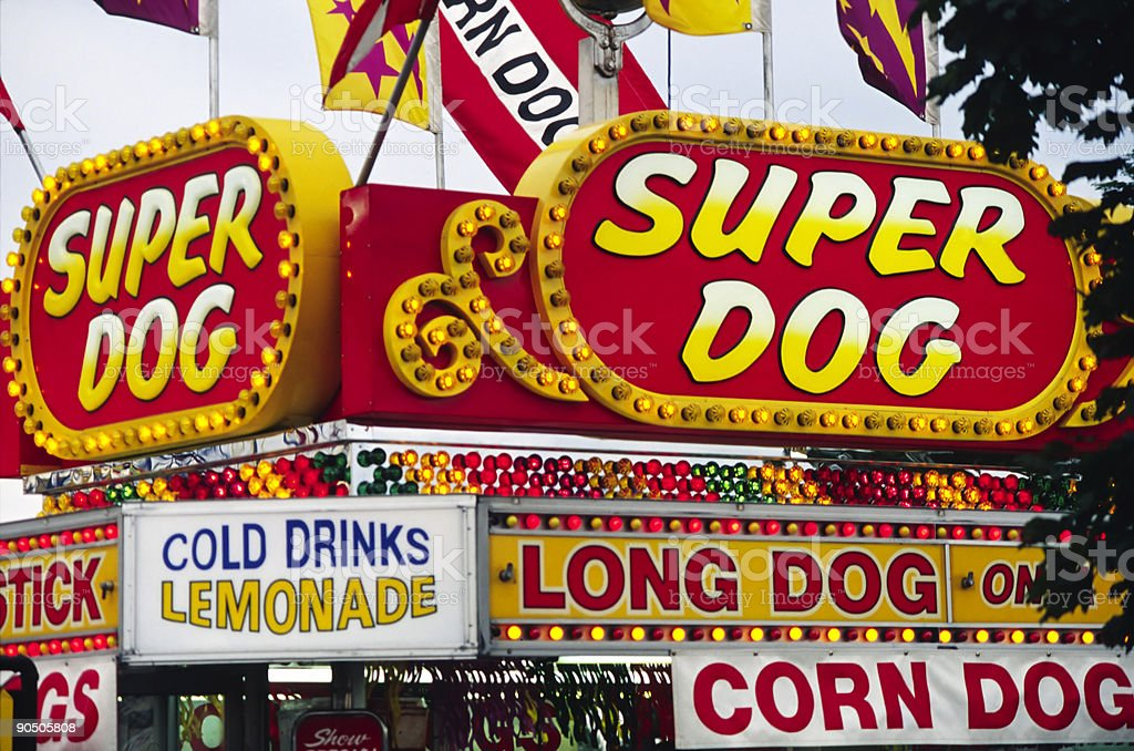 Amusement Park Food Signs stock photo