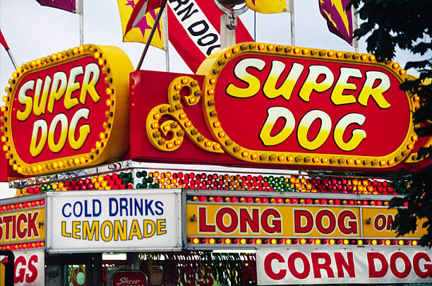 amusement park food signs - school fete stock photos and pictures