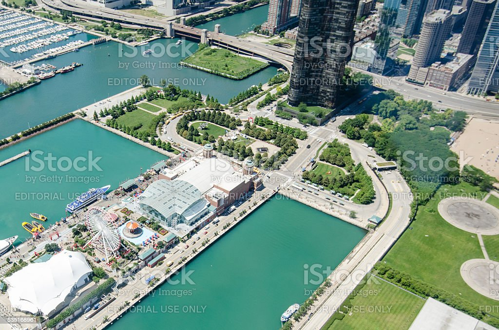 Amusement park in chicago from helicopter stock photo