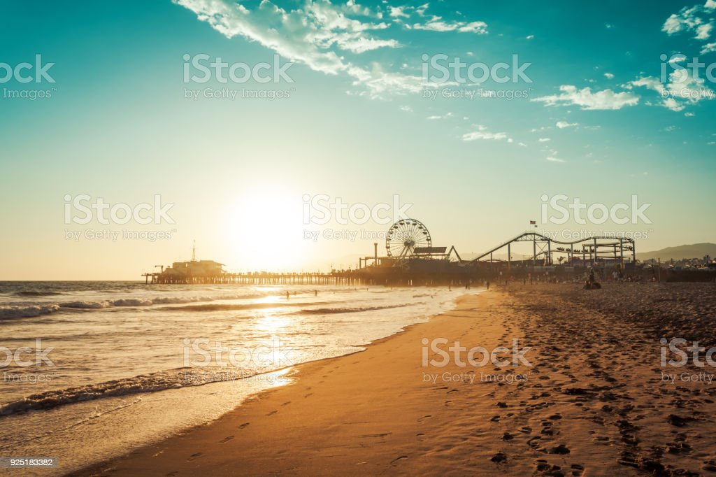 Amusement park in Santa Monica stock photo
