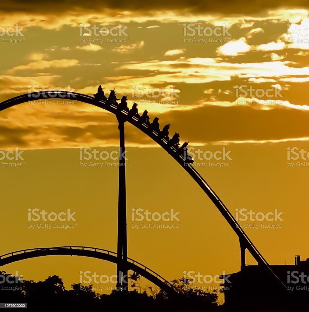 Amusement park in the night stock photo