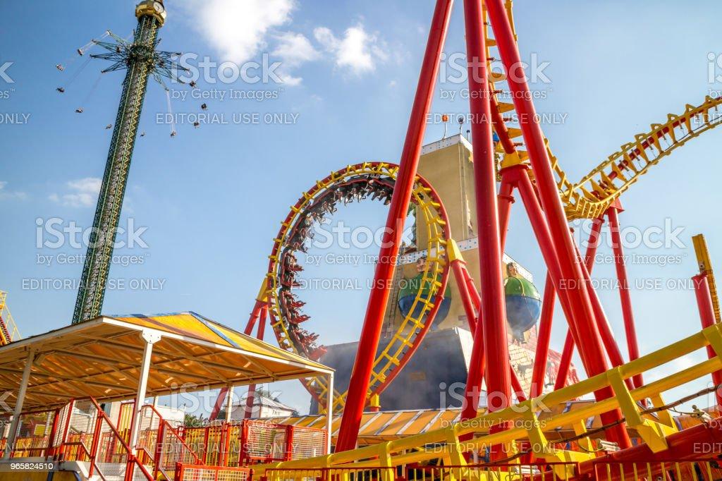 Pretpark in Wenen achtbaan - Royalty-free Achtbaan Stockfoto