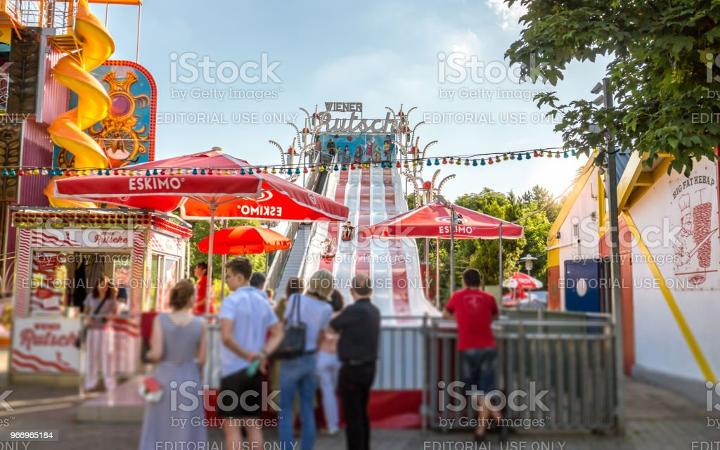Amusement park in Vienna, slide stock photo