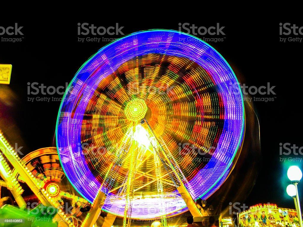 Amusement park night stock photo