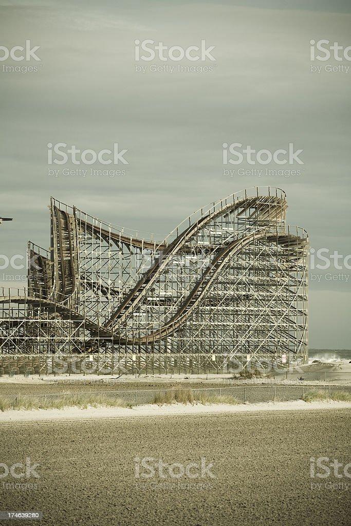 Amusement park on the beach. stock photo