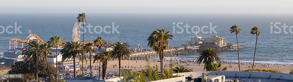 Amusement Park on the Pacific ocean, the beach landscape. stock photo