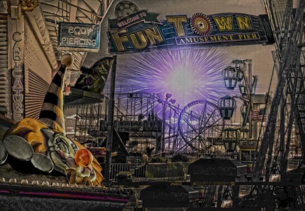 vergnügungspark park  - horror zirkus stock-fotos und bilder