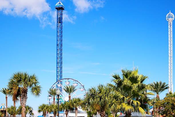 Amusement Park Through the Palms stock photo