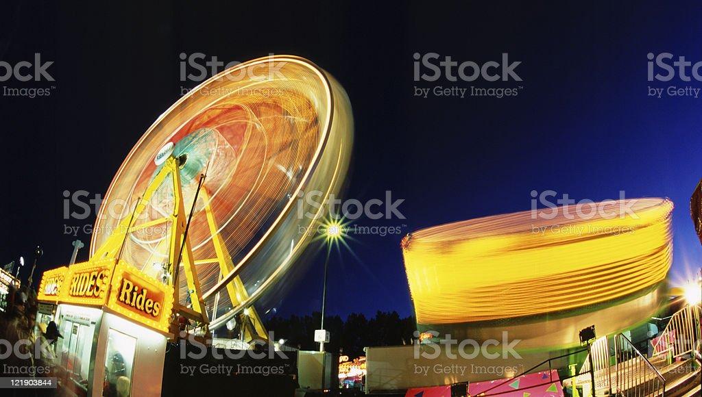 Amusement Rides at Night stock photo