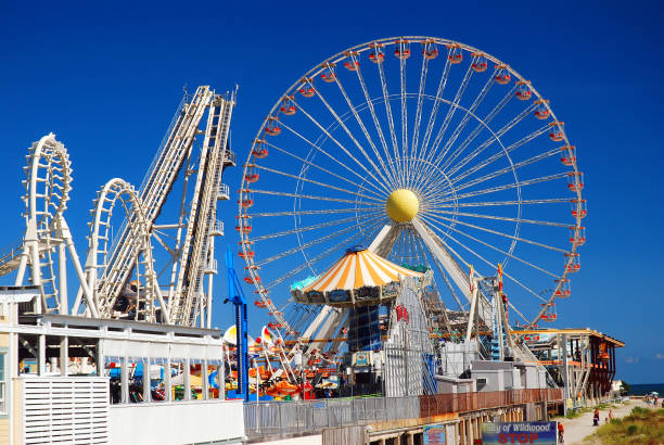 Amusement rides on the boardwalk in Wildwood, New Jersey stock photo