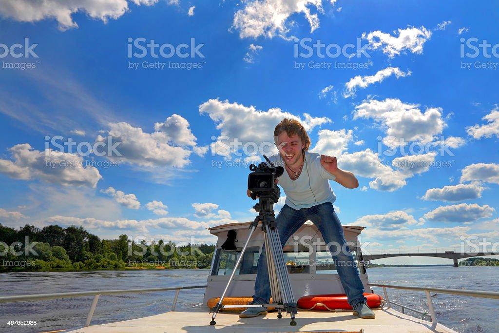 Amusing video on travel on vacation stock photo