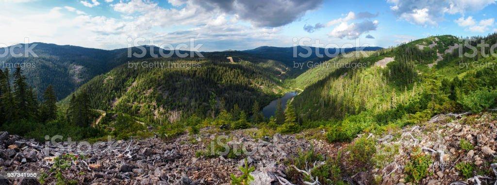 Amut mountain lake panorama stock photo
