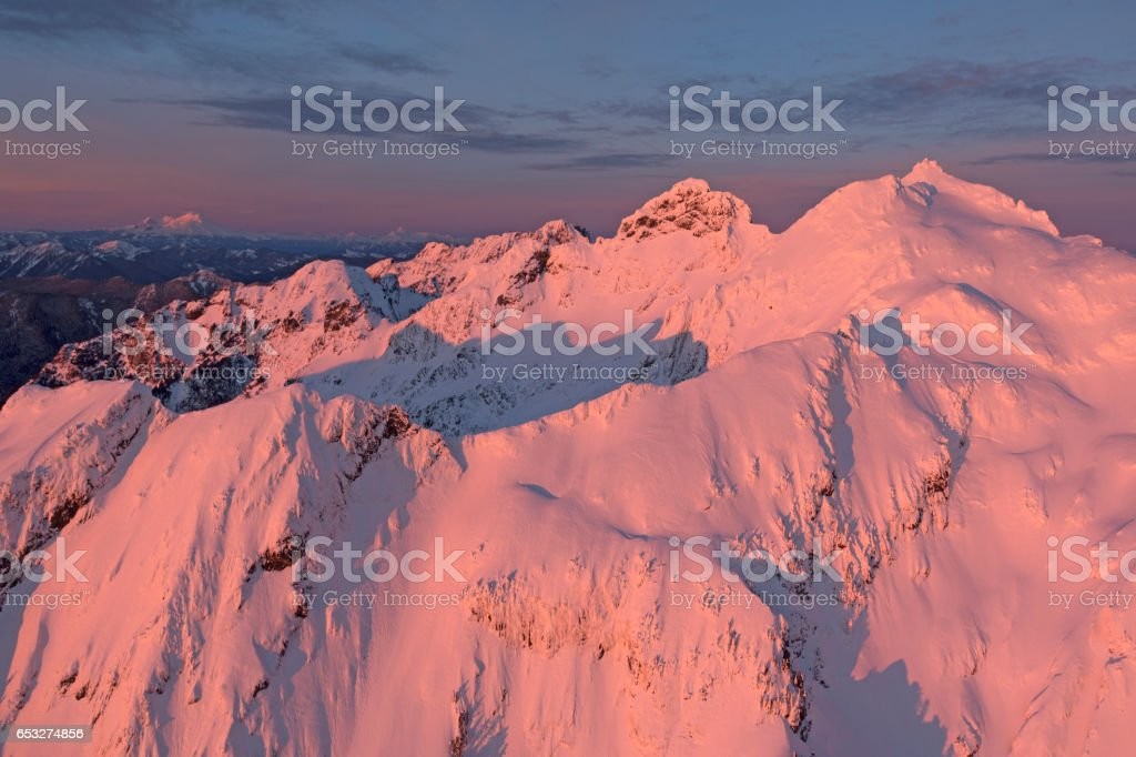Amzing Sunset in the North Cascade Mountains of Washington State Aerial Panoramic View stock photo