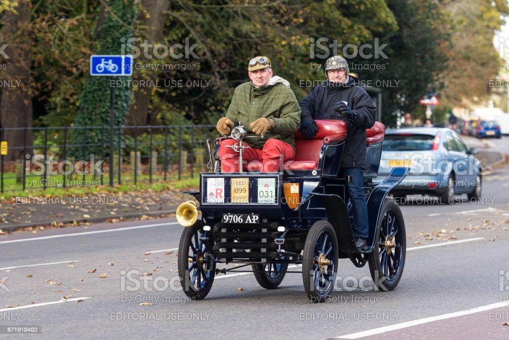 An 1899 Peugeot approaching Brighton during the 2017 London to Brighton Veteran Car Run stock photo