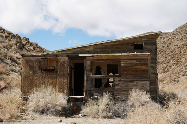 An abandonded structure in the high desert stock photo