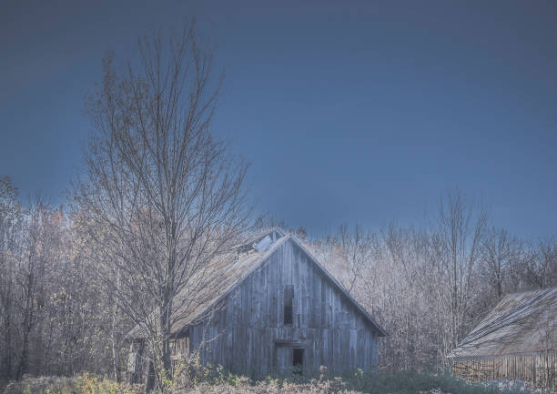 An abandoned barn in a field. stock photo