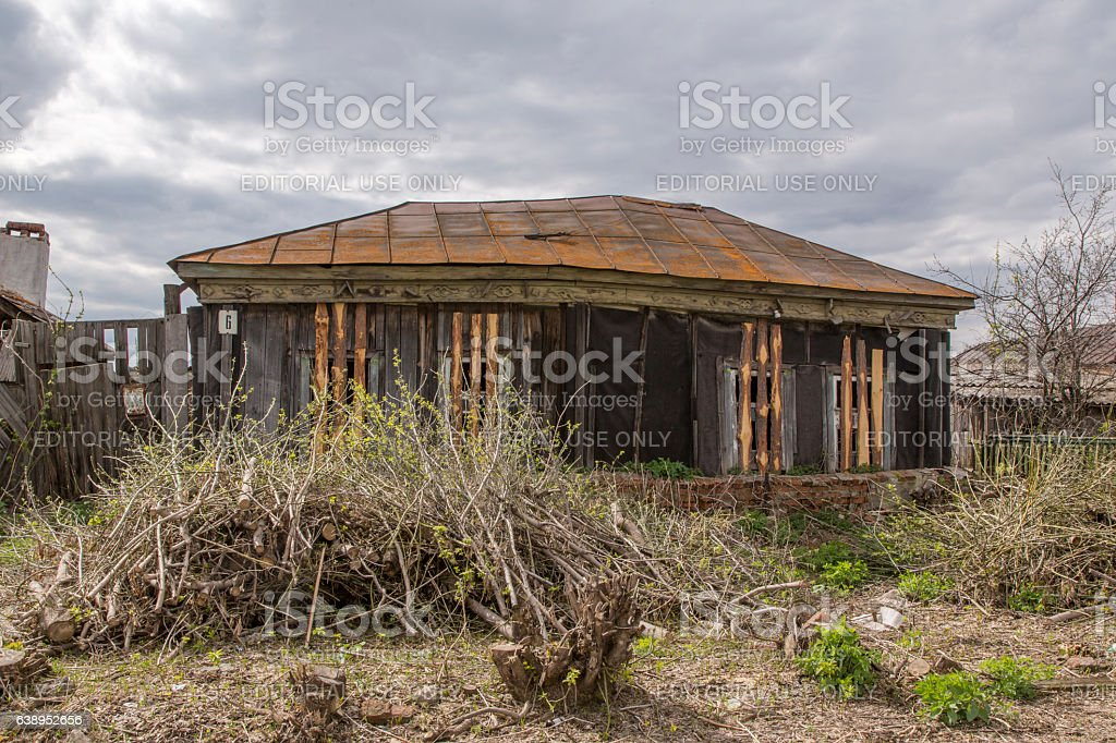 An abandoned house in the Russian village Stolovoe stock photo