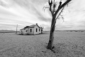 A spooky black and white desert landscape taken near Luderitz, Namibia, with an abandoned old house and a dead tree against a stormy and moody, cloudy sky.