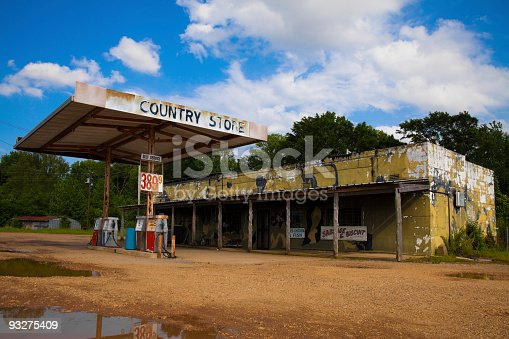 Closed up general store and gas station in rural Mississippi