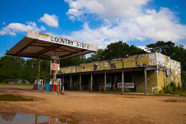 An abandoned petrol and country store stock photo