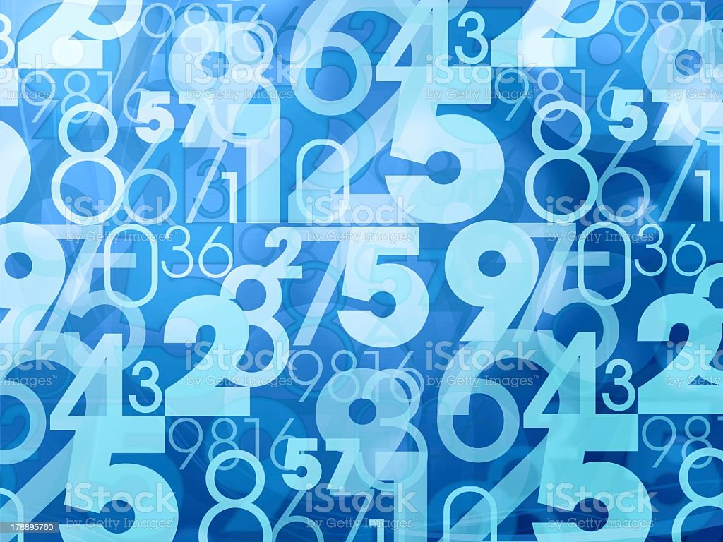 An abstract blue pattern with numbers stock photo