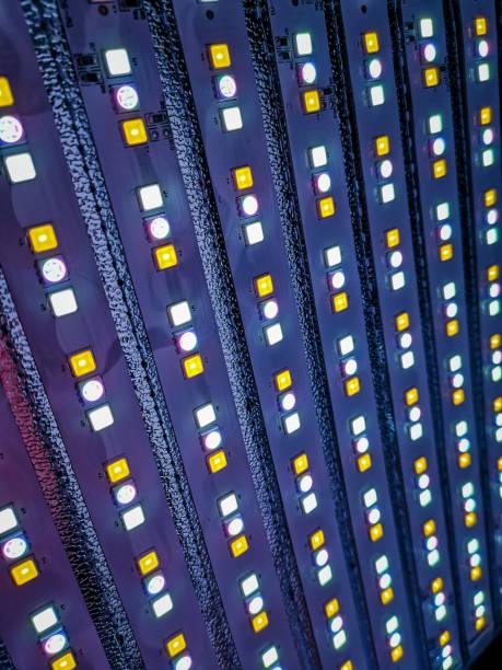 aydınlatma için bir rbg led panelinin soyut bir çekim. - rbg stok fotoğraflar ve resimler