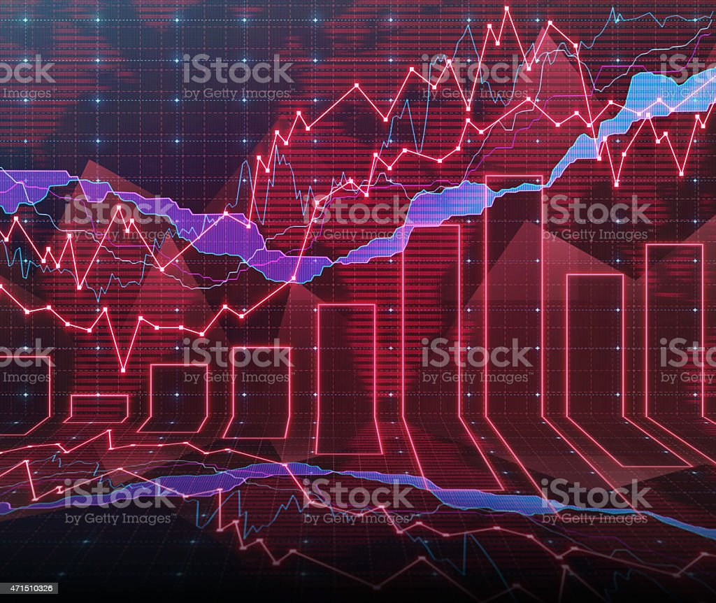 An abstract Forex graph room in red stock photo