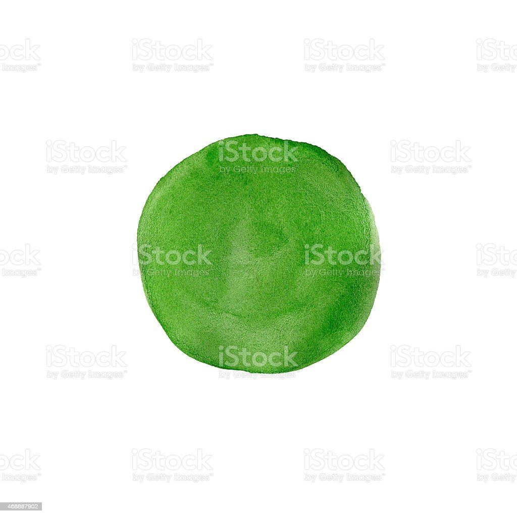 An abstract green, painted circle against a white background stock photo