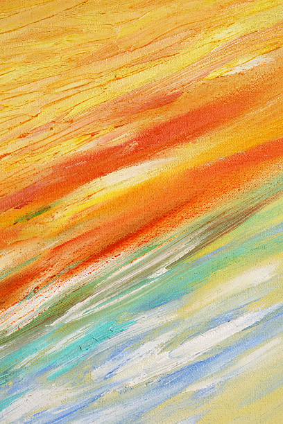 An abstract painting with warm and cold colors stock photo