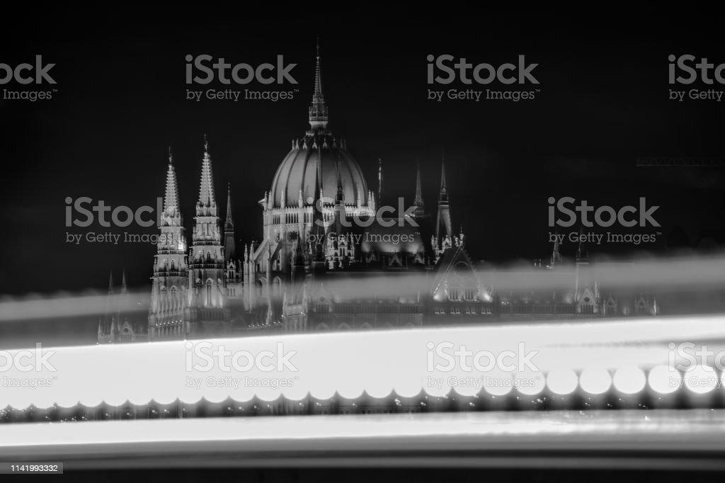 An abstract picture of the Hungarian Parliamentwith the lights of teh...