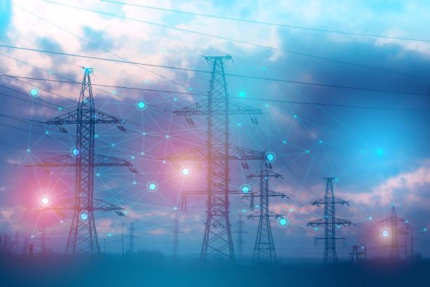 abstrakcyjna reprezentacja rozwiązywania problemów za pomocą sztucznej inteligencji w celu zwiększenia niezawodności i zmniejszenia strat i wypadków podczas przenoszenia energii elektrycznej - elektryczność zdjęcia i obrazy z banku zdjęć