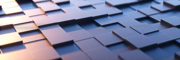 an abstract square background with a metal sense of technology.3d rendering. - bloco imagens e fotografias de stock