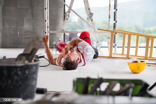 istock An accident of a man worker at the construction site. 1008268708