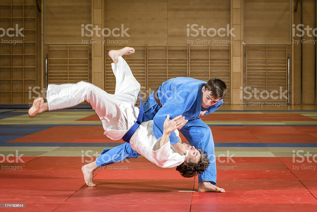 An action shot of young male judoka fighters in a dojo stock photo